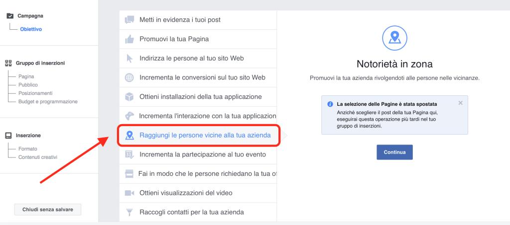 Facebook ads Imprese Locali
