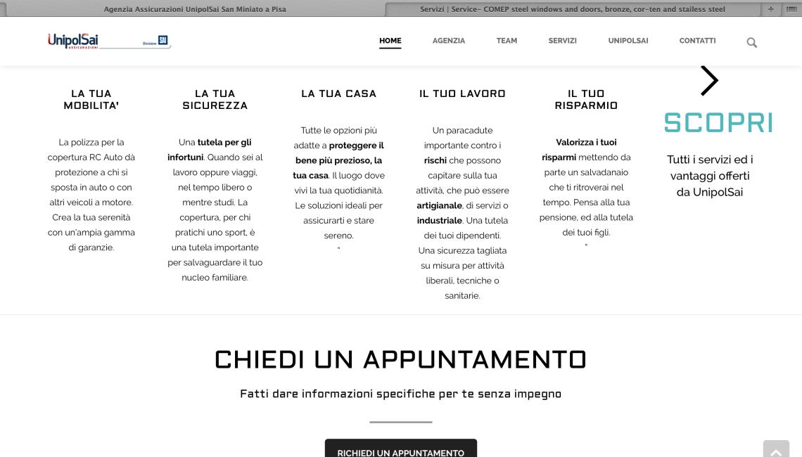 Sito Web UnipolSai – Pagina Servizi